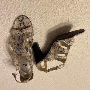 "White snake skin Impo 3 1/2"" stacked heel"